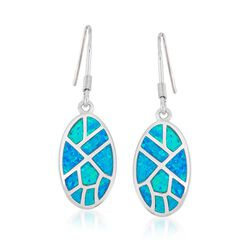Blue Synthetic Opal Mosaic Drop Earrings in Sterling Silver, , default