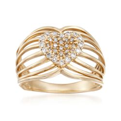 .35 ct. t.w. Diamond Openwork Heart Ring in 14kt Yellow Gold, , default