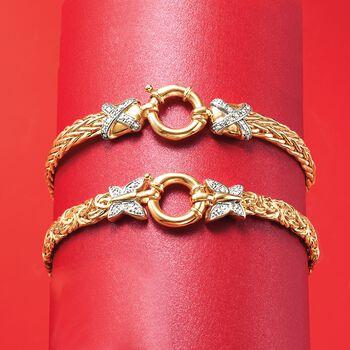 "14kt Yellow Gold Wheat-Link Bracelet with Diamond X Motifs. 8"", , default"