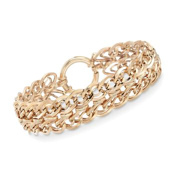 """14kt Yellow Gold Two-Row Oval-Link Bracelet. 7.5"""", , default"""