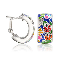 "Belle Etoile ""Ladybug"" Blue Enamel and CZ-Accented Hoop Earrings in Sterling Silver, , default"