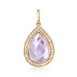 3.60 Carat Amethyst and .19 ct. t.w. Diamond Pendant in 14kt Yellow Gold, , default