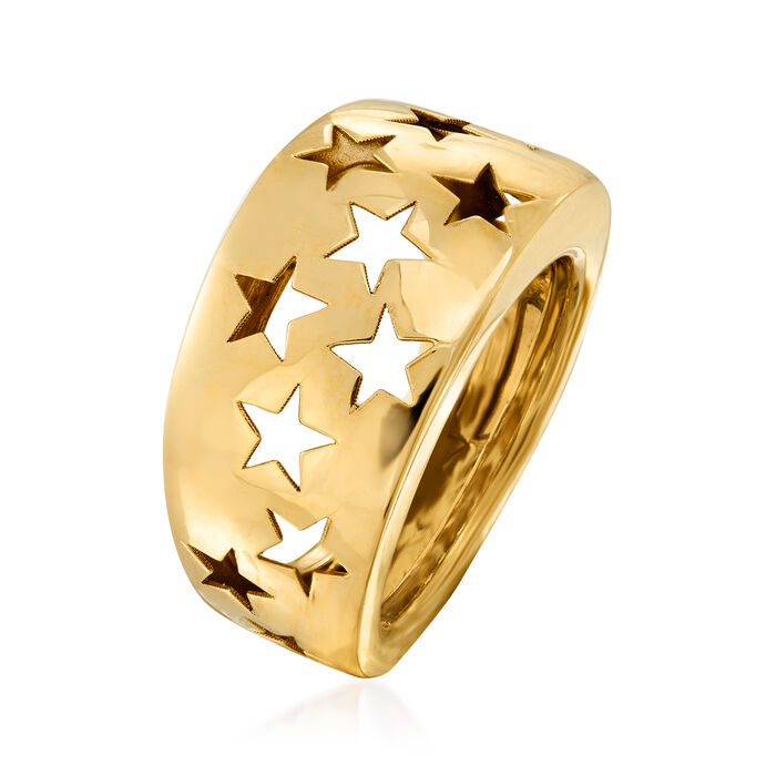 Italian 14kt Yellow Gold Cut-Out Star Ring