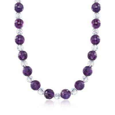 11.5-12mm Amethyst and 7-8mm Rock Crystal Bead Collar Necklace with Yellow Gold, , default
