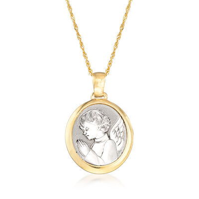 Italian 14kt Two-Tone Gold Guardian Angel Adjustable Pendant Necklace, , default