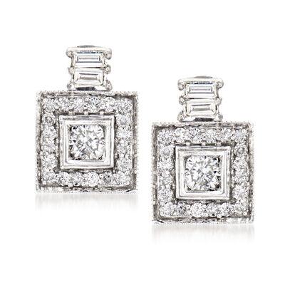 C. 1980 Vintage .95 ct. t.w. Diamond Drop Earrings in 14kt White Gold, , default