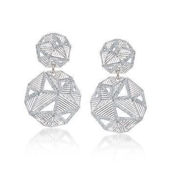 Italian Sterling Silver Geometric Drop Earrings With Glitter Enamel, , default