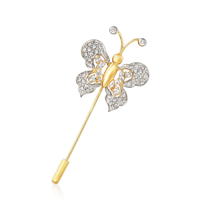 1.18 ct. t.w. White Topaz Butterfly Stick Pin in 18kt Gold Over Sterling