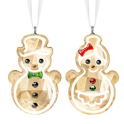 Swarovski Crystal Gingerbread Couple Ornament Set, , default