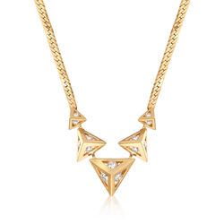 C. 1990 Vintage 1.15 ct. t.w. Diamond Geometric Triangle Necklace in 14kt Yellow Gold, , default