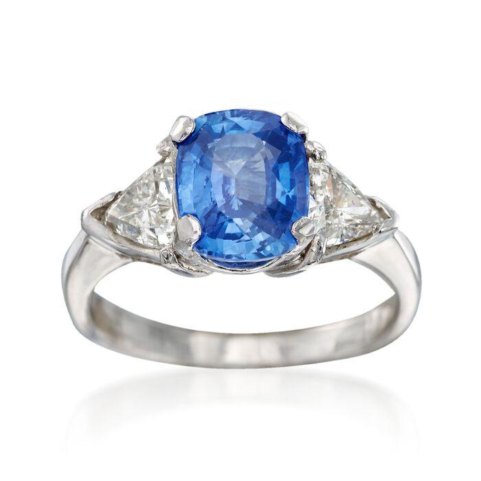 C. 1980 Vintage 2.45 Carat Sapphire and 1.00 ct. t.w. Diamond Ring in Platinum. Size 6, , default