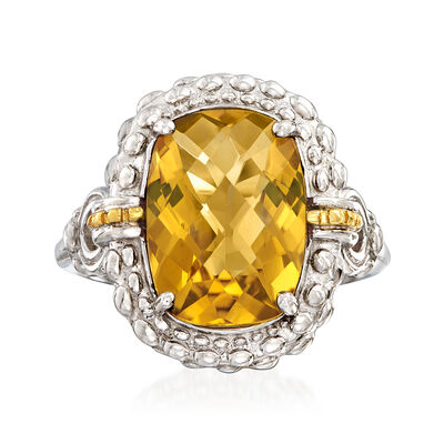 "Phillip Gavriel ""Popcorn"" 6.00 Carat Yellow Quartz Ring in Sterling Silver with 18kt Yellow Gold, , default"