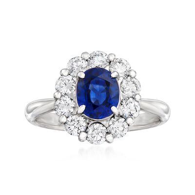 C. 1990 Vintage 1.13 Carat Sapphire and .74 ct. t.w. Diamond Ring in Platinum