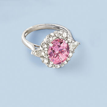 Simulated Pink Sapphire and 2.00 ct. t.w. CZ Ring in Sterling Silver