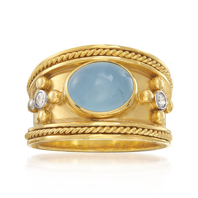 Mazza 3.22 ct. t.w. Aquamarine and .10 ct. t.w. Diamond Ring in 14kt Yellow Gold, , default
