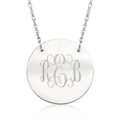 Sterling Silver Small Monogram Disc Pendant Necklace