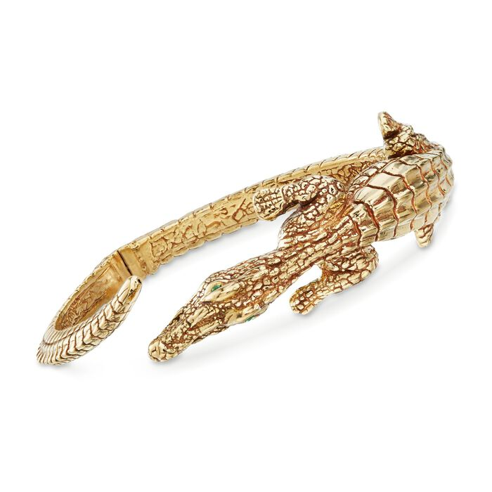 "Italian 18kt Gold Over Sterling Silver Alligator Bypass Bangle Bracelet with Emeralds. 7.5"", , default"