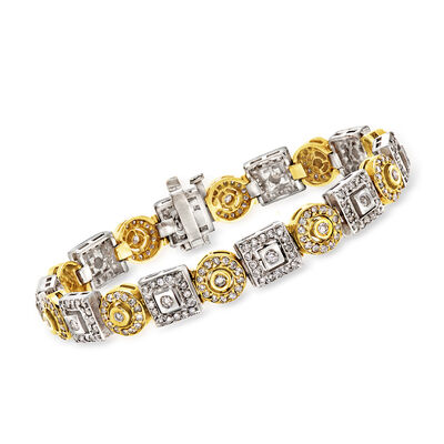 C. 1980 Vintage 4.50 ct. t.w. Diamond Section Bracelet in 14kt Two-Tone Gold