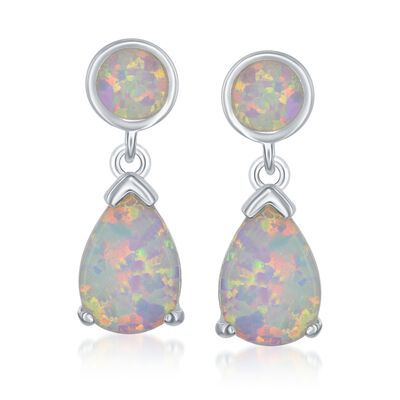 Round and Pear-Shaped Synthetic Opal Drop Earrings in Sterling Silver, , default