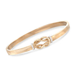 "14kt Two-Tone Gold Love Knot Bangle Bracelet. 7.5"", , default"