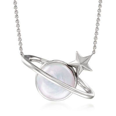 12-13mm Cultured Baroque Coin Pearl Planet Necklace in Sterling Silver