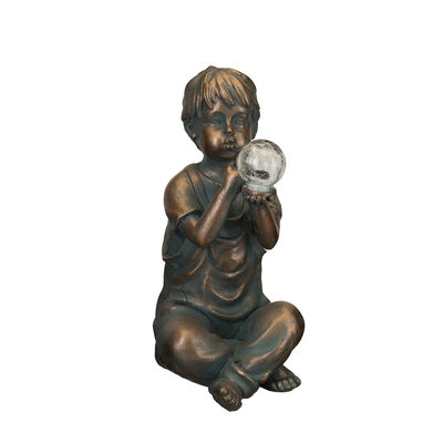 "Regal ""Solar Boy"" Outdoor Garden Statue, , default"