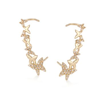 .17 ct. t.w. Diamond Butterfly Ear Crawlers in 14kt Yellow Gold, , default