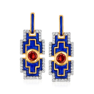 .60 ct. t.w. Garnet and .40 ct. t.w. White Topaz Drop Earrings with Blue Enamel in 18kt Gold Over Sterling