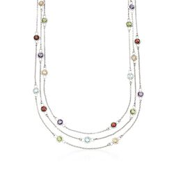 "11.40 ct. t.w. Multi-Stone Three-Strand Station Necklace in Sterling Silver. 17"", , default"