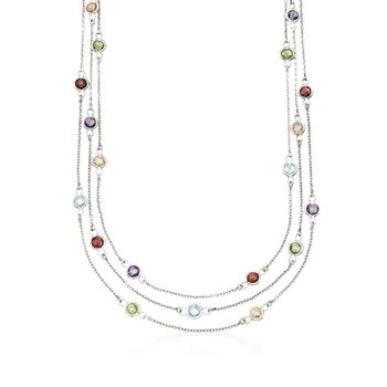 """11.40 ct. t.w. Multi-Stone Three-Strand Station Necklace in Sterling Silver. 17"""", , default"""