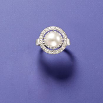 8.5mm Cultured Pearl and .20 ct. t.w. Diamond Double Halo Ring in 14kt White Gold , , default