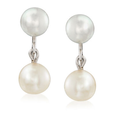 C. 1950 Vintage 6-6.5mm Cultured Pearl Screwback Earrings in 10kt White Gold, , default
