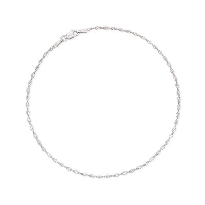 2mm Sterling Silver Twisted Chain Anklet, , default