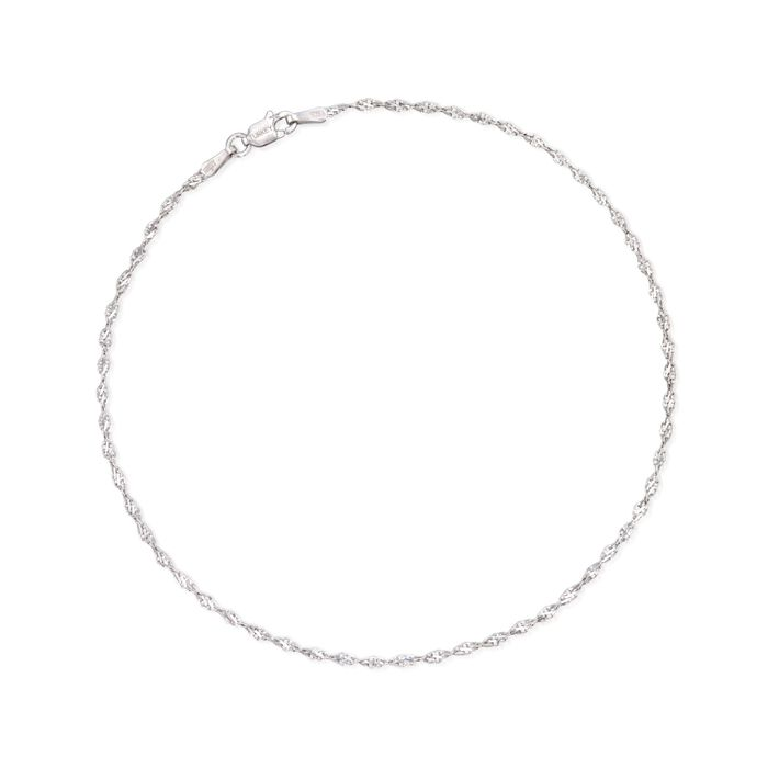 """2mm Sterling Silver Twisted Chain Anklet. 10"""", , default"""