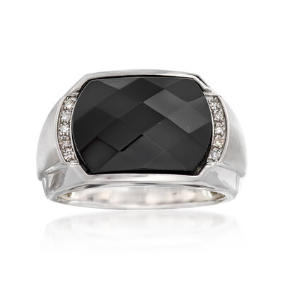 Men's Black Onyx Ring with Diamond Accents in Sterling Silver