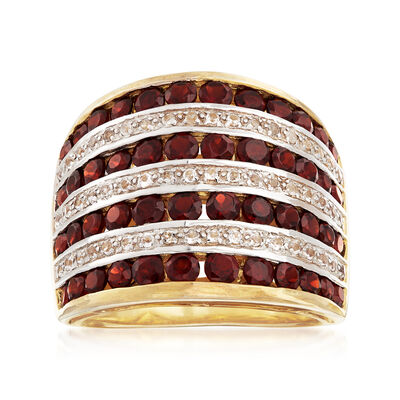 2.70 ct. t.w. Garnet and .20 ct. t.w. White Topaz Multi-Row Ring in 18kt Gold Over Sterling, , default
