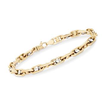"""Men's 14kt Two-Tone Gold Link Bracelet. 8.25"""", , default"""