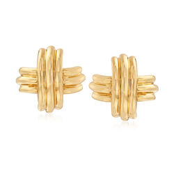 C. 1990 Vintage Tiffany Jewelry 18kt Yellow Gold Crossover Earrings, , default