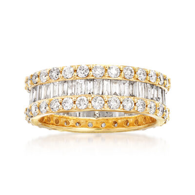 3.00 ct. t.w. Round and Baguette Diamond Eternity Ring in 14kt Yellow Gold