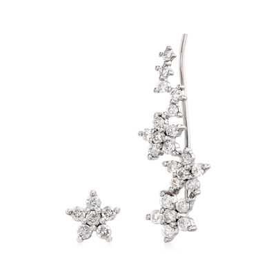 .43 ct. t.w. Diamond Floral Mixed Earrings in 18kt White Gold, , default
