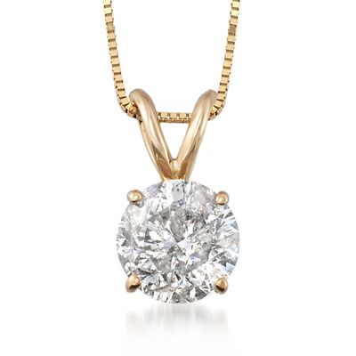 1.50 Carat Diamond Solitaire Necklace in 14kt Yellow Gold, , default