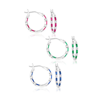 1.20 ct. t.w. CZ and 1.20 ct. t.w. Multi-Gemstone Jewelry Set: Three Pairs of Hoop Earrings in Sterling Silver, , default