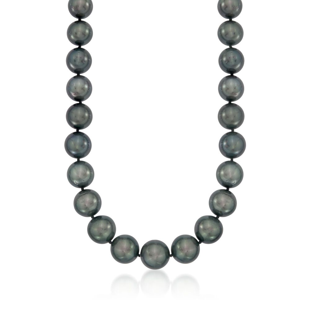 """8-9mm Tahitian Black Natural Pearl Necklace 18/"""" A+"""