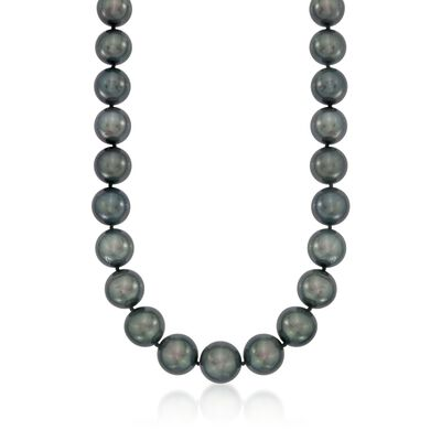 12-14.5mm Black Cultured Tahitian Pearl Necklace with Diamonds and 14kt White Gold