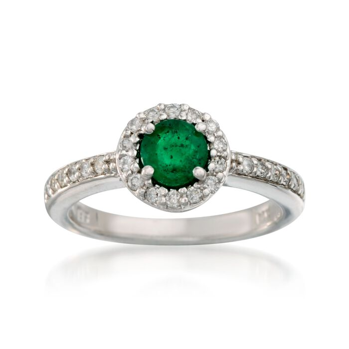 .55 Carat Emerald and .30 ct. t.w. Diamond Ring in 14kt White Gold