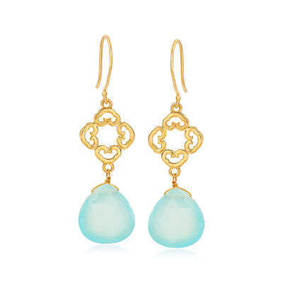 Blue Chalcedony Openwork Drop Earrings in 18kt Gold Over Sterling