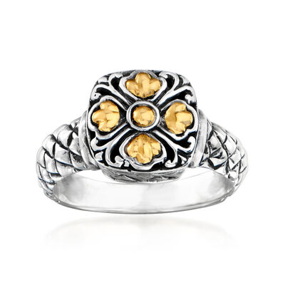 Sterling Silver Bali-Style Square-Top Floral Ring with 14kt Yellow Gold