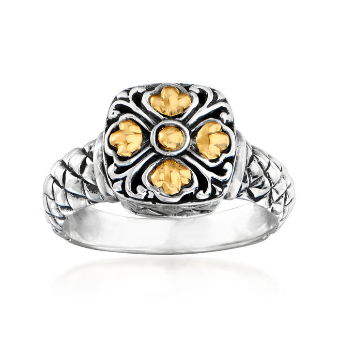 Sterling Silver Bali-Style Square-Top Floral Ring with 14kt Yellow Gold, , default