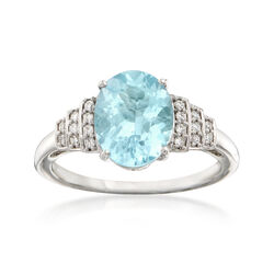 2.70 Carat Aquamarine and .12 ct. t.w. Diamond Ring in 14kt Yellow Gold, , default