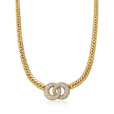 C. 1980 Vintage 4.00 ct. t.w. Diamond Double- Circle Necklace in 18kt Yellow Gold
